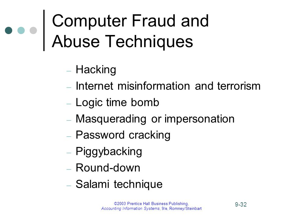 ©2003 Prentice Hall Business Publishing, Accounting Information Systems, 9/e, Romney/Steinbart 9-32 Computer Fraud and Abuse Techniques – Hacking – Internet misinformation and terrorism – Logic time bomb – Masquerading or impersonation – Password cracking – Piggybacking – Round-down – Salami technique
