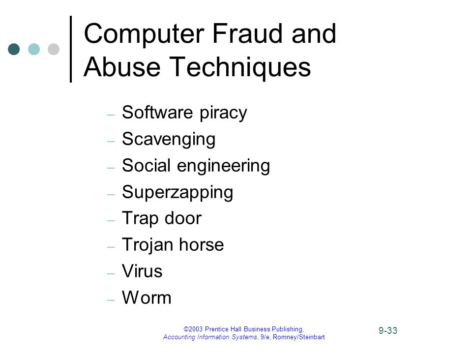 ©2003 Prentice Hall Business Publishing, Accounting Information Systems, 9/e, Romney/Steinbart 9-33 Computer Fraud and Abuse Techniques – Software piracy – Scavenging – Social engineering – Superzapping – Trap door – Trojan horse – Virus – Worm