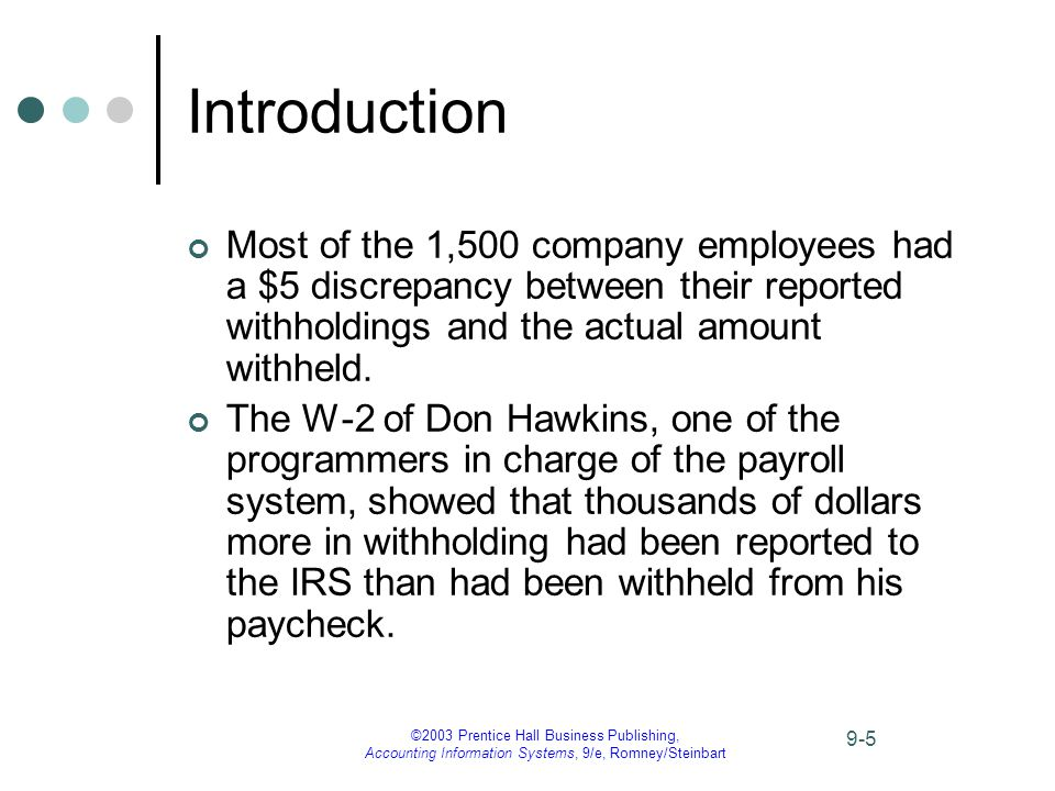 ©2003 Prentice Hall Business Publishing, Accounting Information Systems, 9/e, Romney/Steinbart 9-5 Introduction Most of the 1,500 company employees had a $5 discrepancy between their reported withholdings and the actual amount withheld.