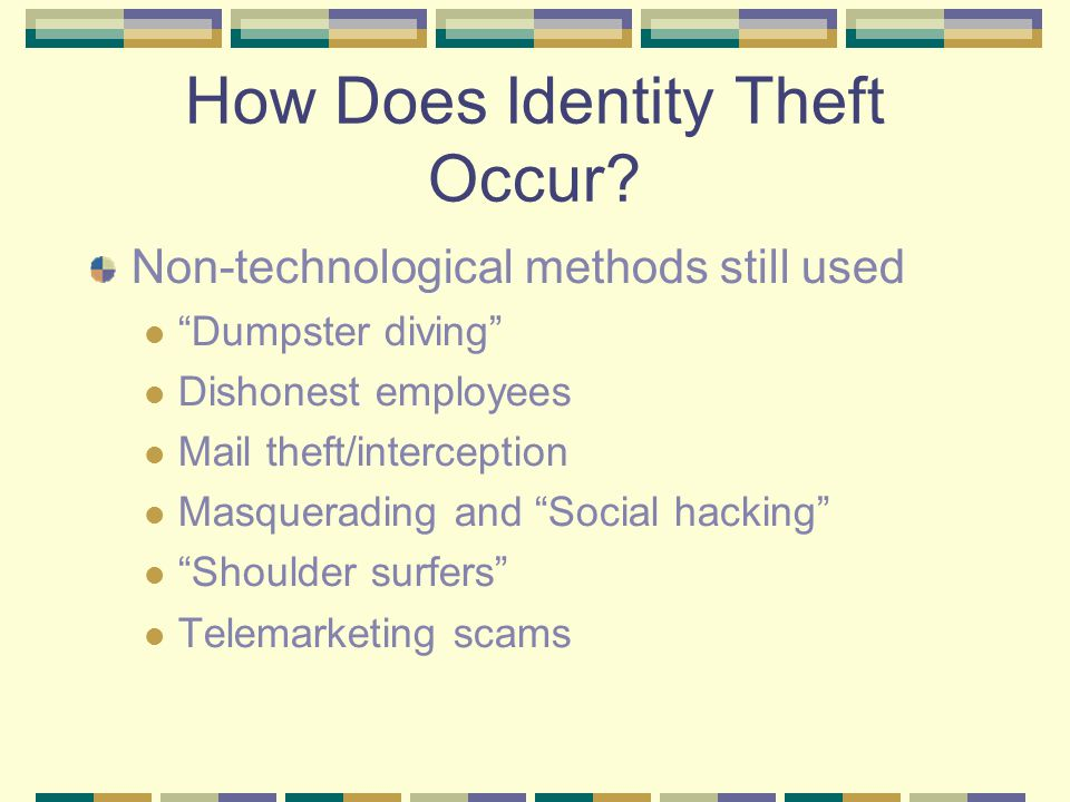 How Does Identity Theft Occur.
