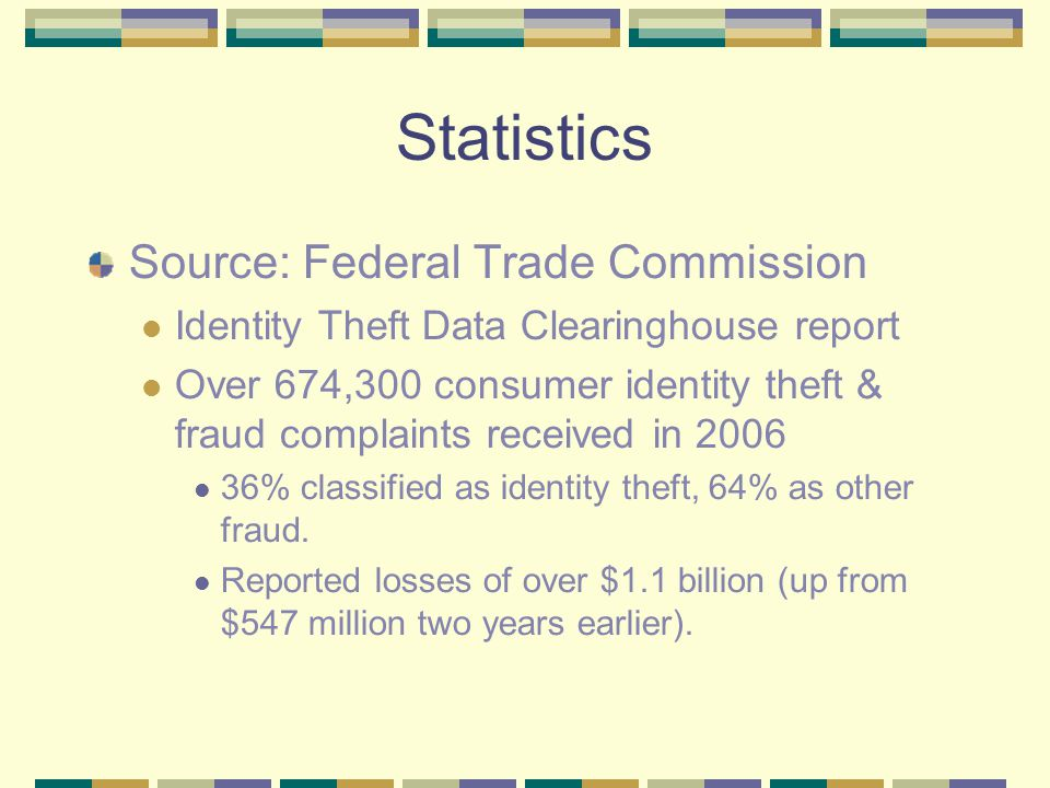 Statistics Source: Federal Trade Commission Identity Theft Data Clearinghouse report Over 674,300 consumer identity theft & fraud complaints received in 2006 36% classified as identity theft, 64% as other fraud.