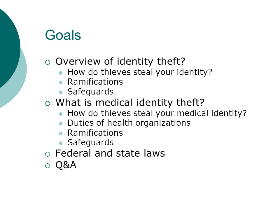 Medical Identity Theft: The Victim's Perspective  Lack of recourse  Lack of rights  Lack of help  No blanket rights to correct erroneous medical records  In some cases victims have been denied access to compromised records  No right to prevent providers, clearinghouses, or insurers from reporting information resulting from identity theft  The World Privacy Forum