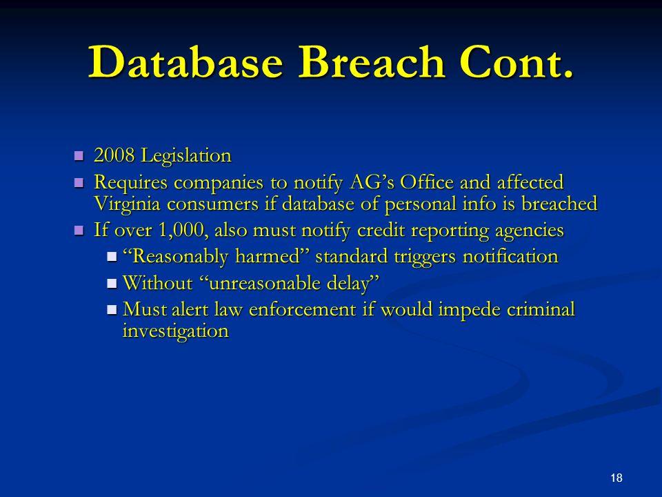 18 Database Breach Cont.