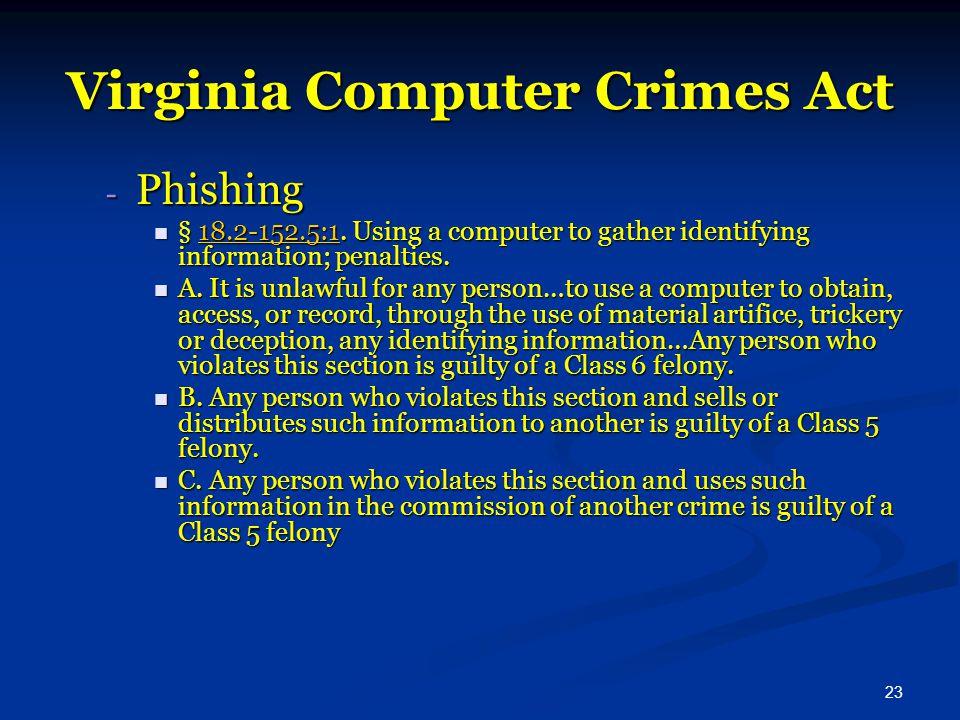 23 Virginia Computer Crimes Act - Phishing § 18.2-152.5:1.