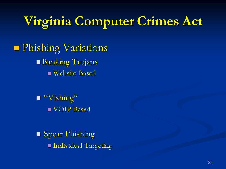 25 Virginia Computer Crimes Act Phishing Variations Phishing Variations Banking Trojans Banking Trojans Website Based Website Based Vishing Vishing VOIP Based VOIP Based Spear Phishing Spear Phishing Individual Targeting Individual Targeting