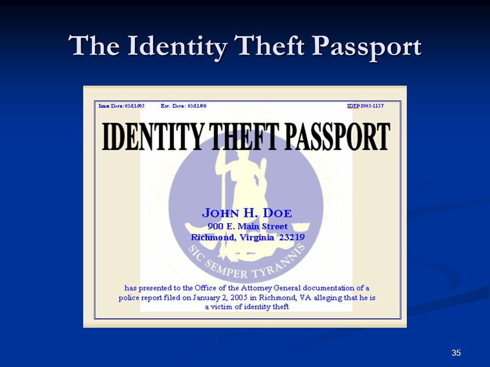 35 The Identity Theft Passport