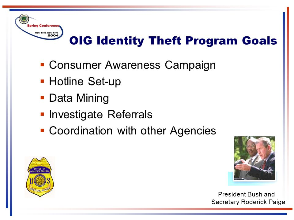  Consumer Awareness Campaign  Hotline Set-up  Data Mining  Investigate Referrals  Coordination with other Agencies OIG Identity Theft Program Goa