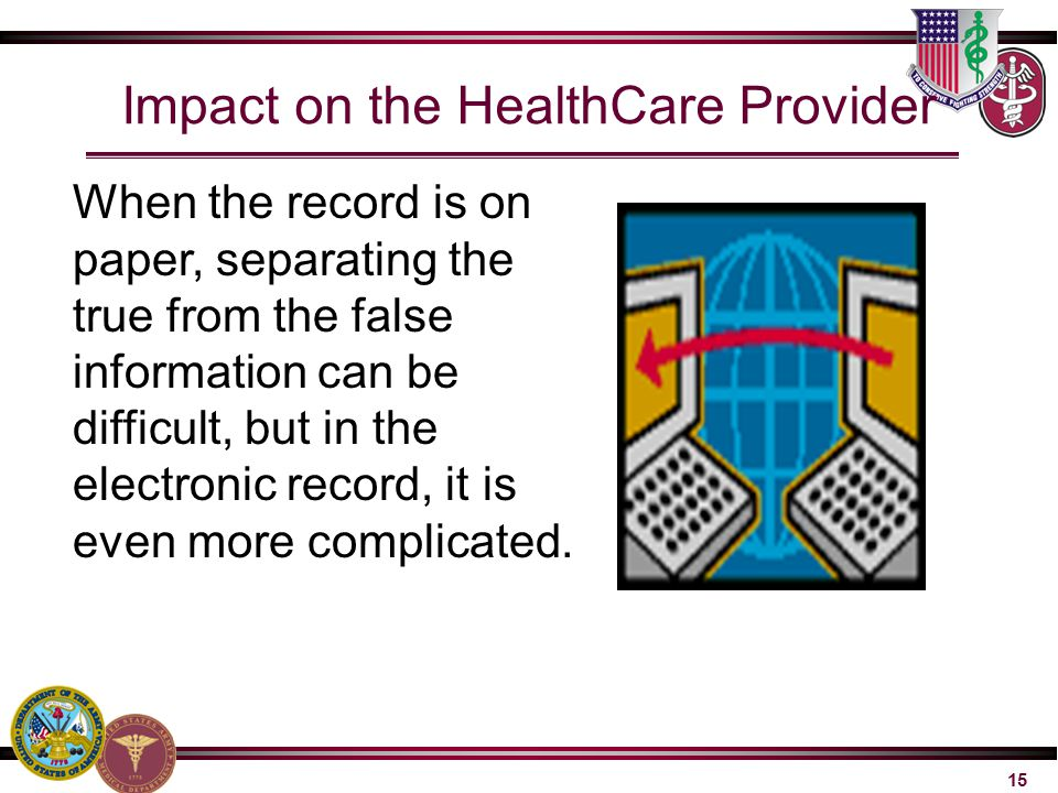Impact on the HealthCare Provider When the record is on paper, separating the true from the false information can be difficult, but in the electronic