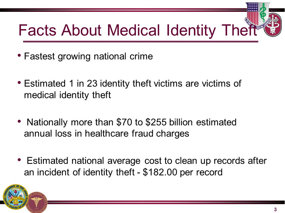Facts About Medical Identity Theft Fastest growing national crime Estimated 1 in 23 identity theft victims are victims of medical identity theft Natio