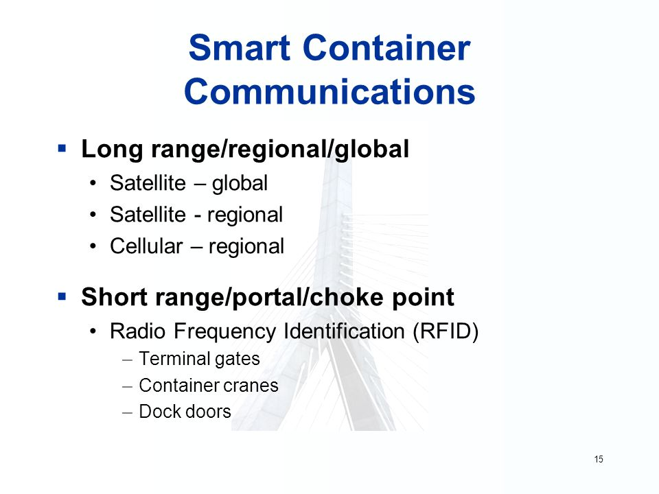 15 Smart Container Communications  Long range/regional/global Satellite – global Satellite - regional Cellular – regional  Short range/portal/choke point Radio Frequency Identification (RFID) –Terminal gates –Container cranes –Dock doors