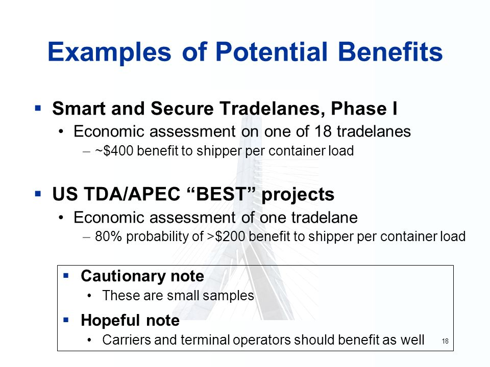 18 Examples of Potential Benefits  Smart and Secure Tradelanes, Phase I Economic assessment on one of 18 tradelanes –~$400 benefit to shipper per container load  US TDA/APEC BEST projects Economic assessment of one tradelane –80% probability of >$200 benefit to shipper per container load  Cautionary note These are small samples  Hopeful note Carriers and terminal operators should benefit as well