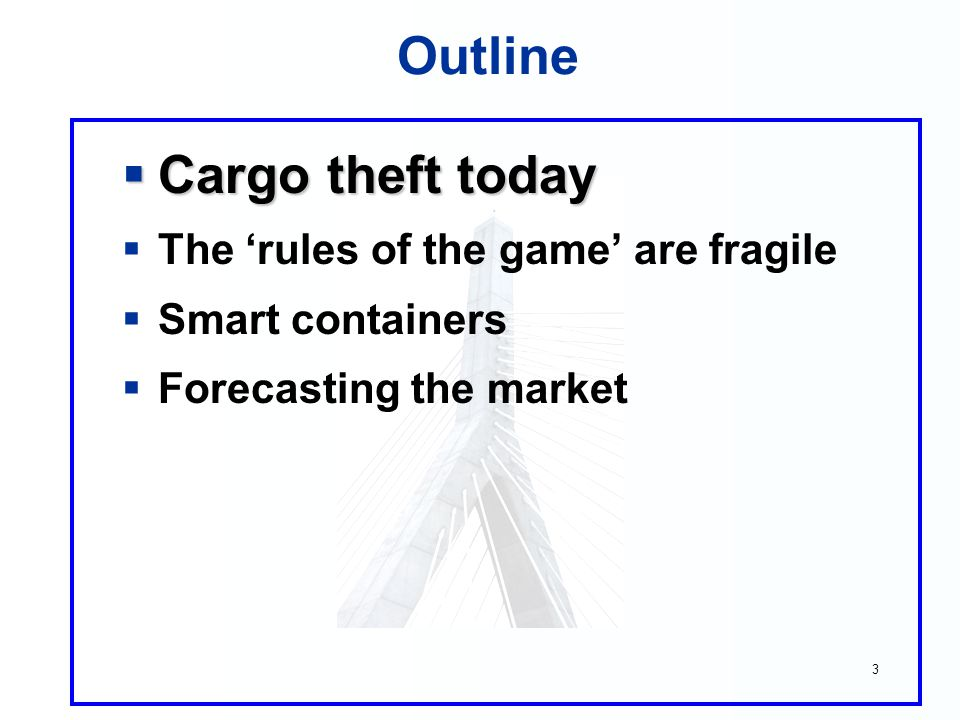 4 Cargo Theft  US cargo theft: $18 billion  Global cargo theft: $50 billion  Those statistics are inadequate Law enforcement est.: ~60% is not reported DOT report: claims, admin make total $20-$60 b.