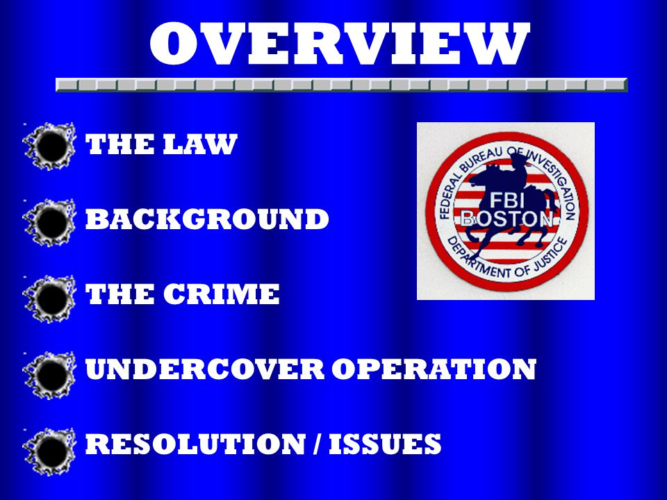 OVERVIEW THE LAW BACKGROUND THE CRIME UNDERCOVER OPERATION RESOLUTION / ISSUES