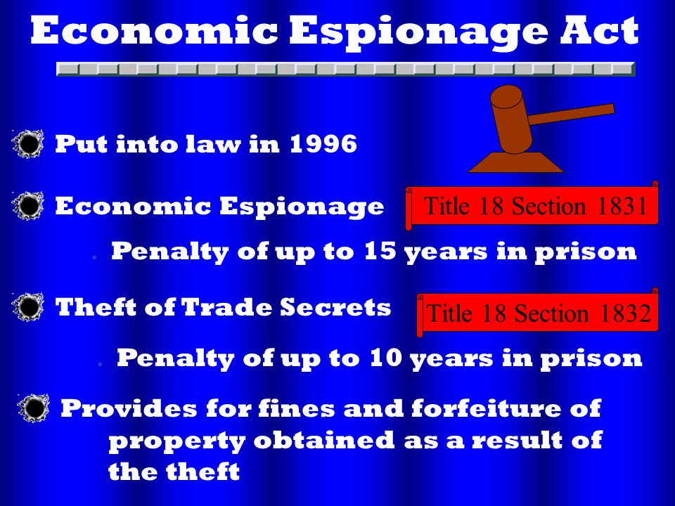 Economic Espionage Act. Economic Espionage. Theft of Trade Secrets.