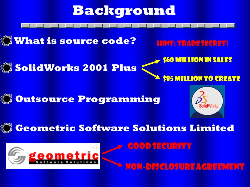 Background. SolidWorks 2001 Plus. Outsource Programming.
