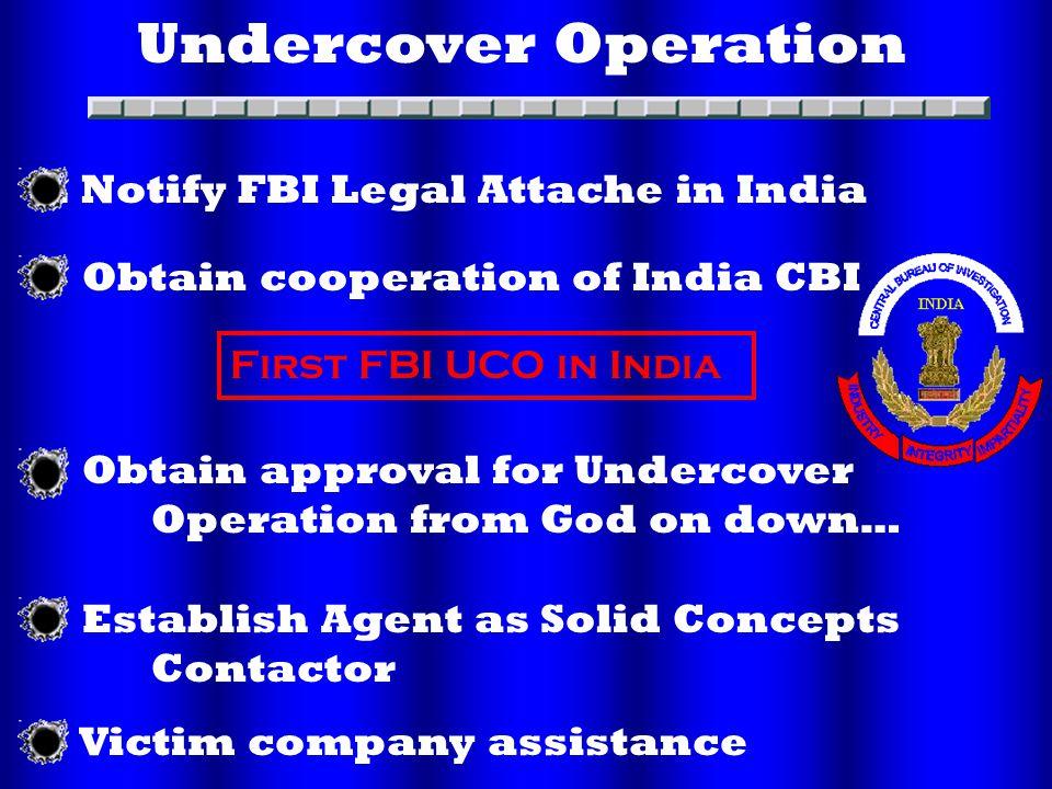 Undercover Operation. Obtain cooperation of India CBI.