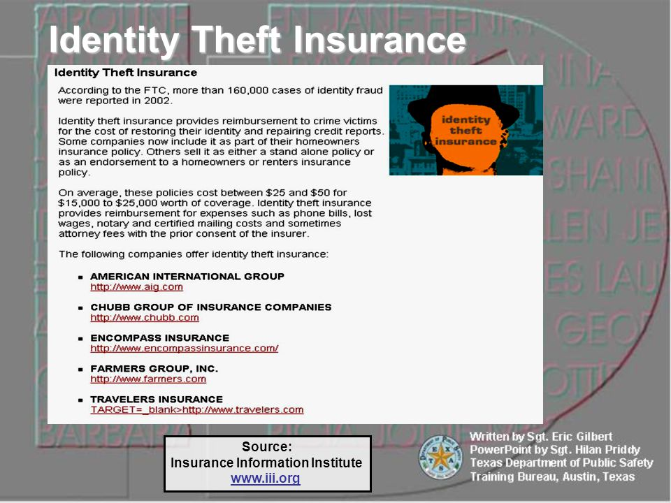 Source: Insurance Information Institute www.iii.org Identity Theft Insurance