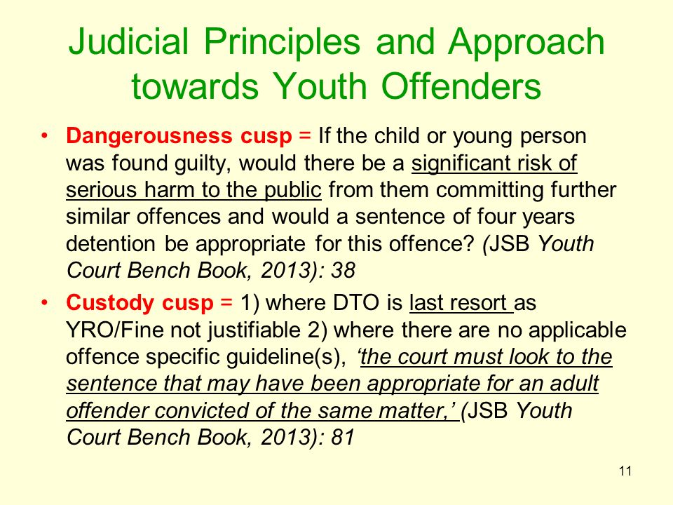 Judicial Principles and Approach towards Youth Offenders Dangerousness cusp = If the child or young person was found guilty, would there be a significant risk of serious harm to the public from them committing further similar offences and would a sentence of four years detention be appropriate for this offence.
