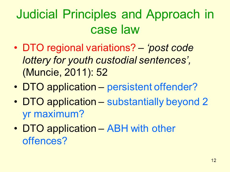 Judicial Principles and Approach in case law DTO regional variations.