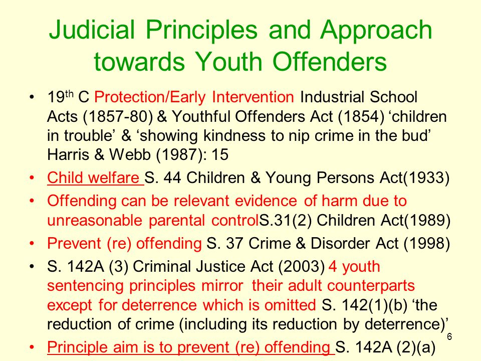 Judicial Principles and Approach towards Youth Offenders 19 th C Protection/Early Intervention Industrial School Acts (1857-80) & Youthful Offenders A