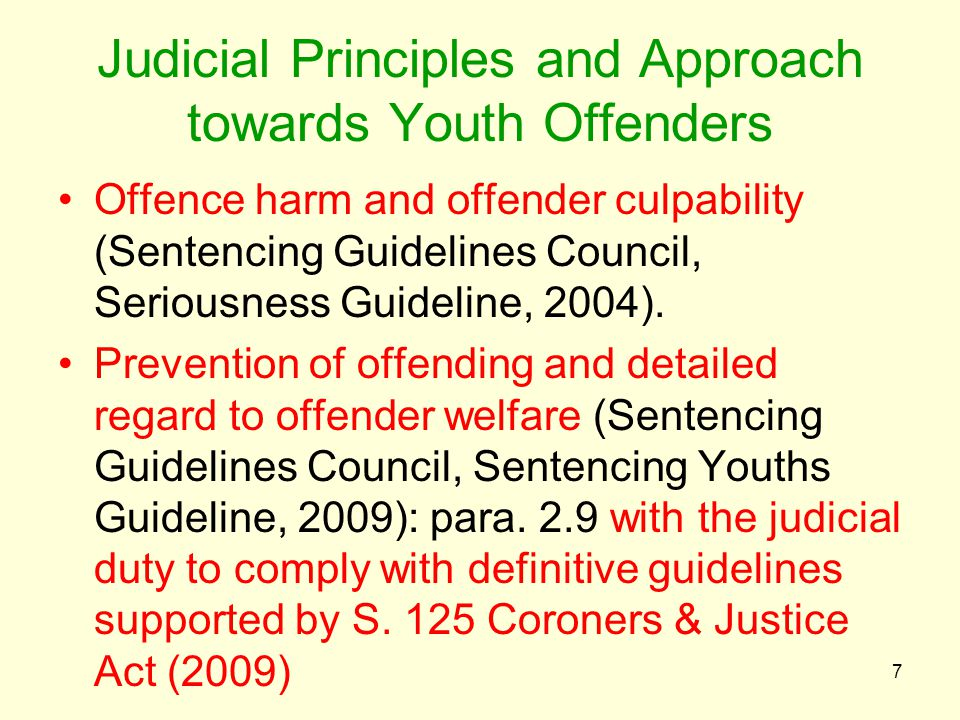 Judicial Principles and Approach towards Youth Offenders Offence harm and offender culpability (Sentencing Guidelines Council, Seriousness Guideline, 2004).