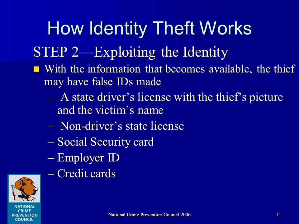 National Crime Prevention Council 200611 How Identity Theft Works STEP 2—Exploiting the Identity With the information that becomes available, the thief may have false IDs made With the information that becomes available, the thief may have false IDs made – A state driver's license with the thief's picture and the victim's name – Non-driver's state license –Social Security card –Employer ID –Credit cards