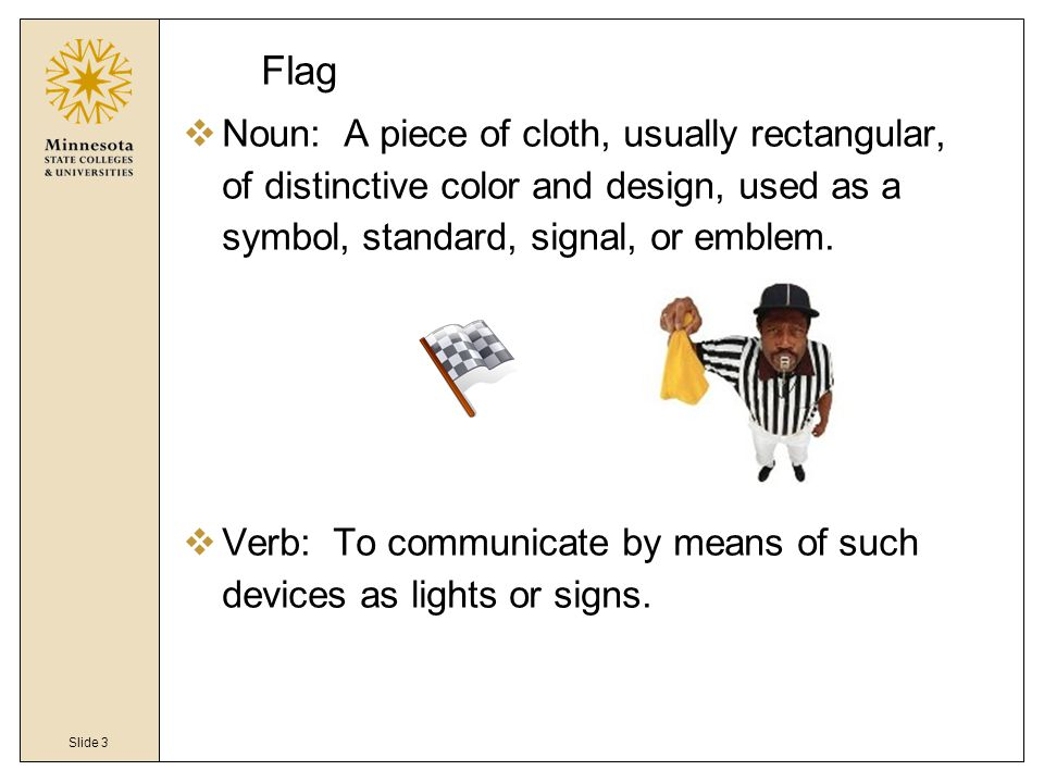 Slide 3 Flag  Noun: A piece of cloth, usually rectangular, of distinctive color and design, used as a symbol, standard, signal, or emblem.