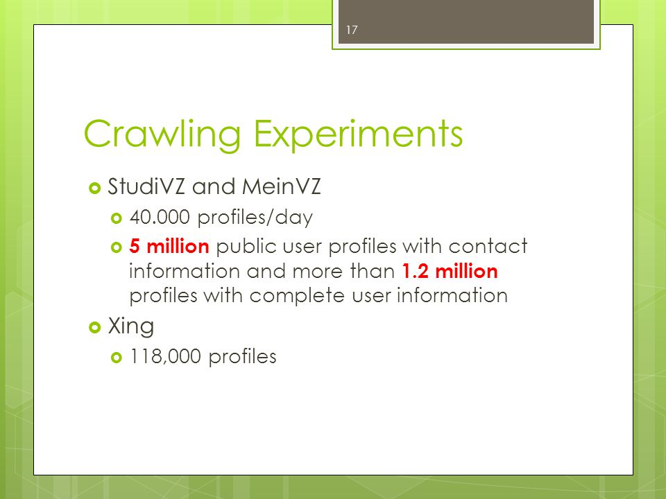 Crawling Experiments  StudiVZ and MeinVZ  40.000 profiles/day  5 million public user profiles with contact information and more than 1.2 million profiles with complete user information  Xing  118,000 profiles 17
