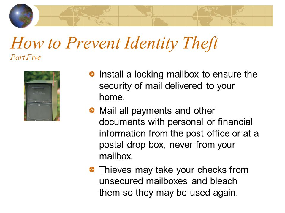 How to Prevent Identity Theft Part Four Review all credit card transactions each month when you receive your credit card statement.