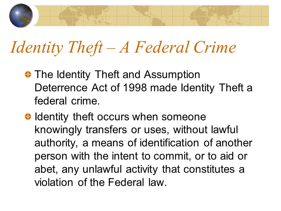 Identity Theft – No Little Problem Identity theft is one of the fastest growing crimes in America Identity theft is a big-ticket item in terms of money and time according to Howard Beales, director of the FTC s Bureau of Consumer Protection. Cost to consumers in 2002 $5 billion in expenses Cost to businesses in 2002 $50 million [ 1][ 1] http://www.washingtontimes.com/functions/print.php?StoryID=20030903-095305-3951r 06/7/2004
