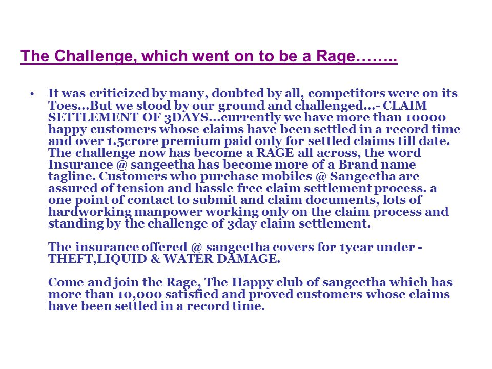 The Challenge, which went on to be a Rage……..