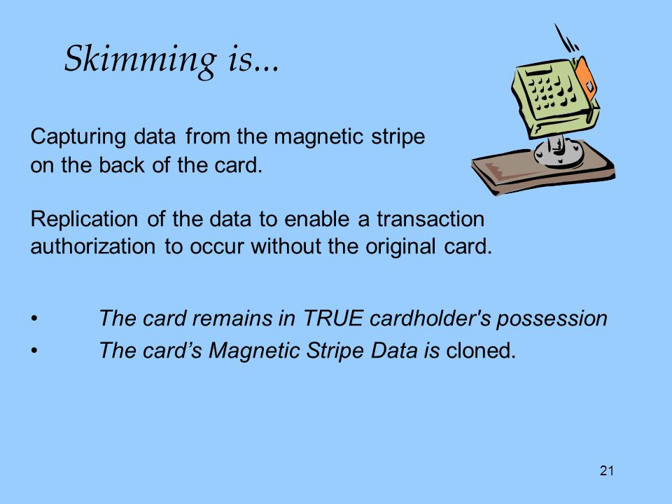 21 Capturing data from the magnetic stripe on the back of the card.