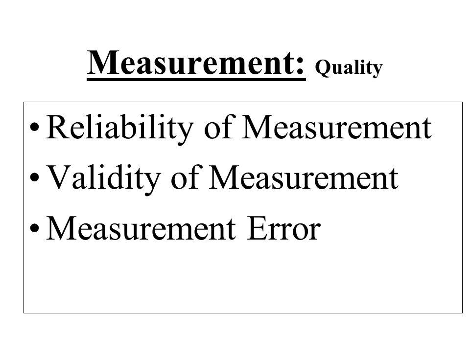 Measurement: Quality Reliability of Measurement Validity of Measurement Measurement Error