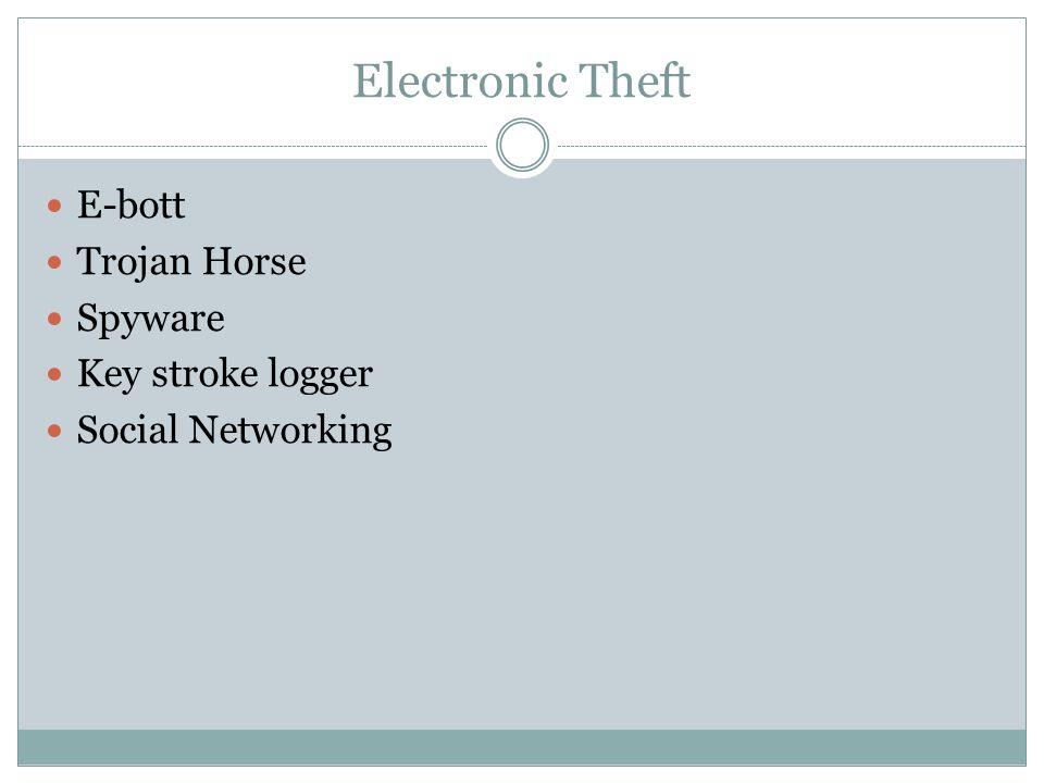 Electronic Theft E-bott Trojan Horse Spyware Key stroke logger Social Networking