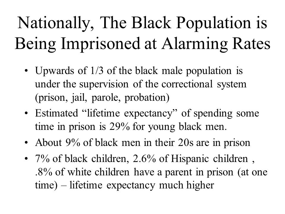 Nationally, The Black Population is Being Imprisoned at Alarming Rates Upwards of 1/3 of the black male population is under the supervision of the correctional system (prison, jail, parole, probation) Estimated lifetime expectancy of spending some time in prison is 29% for young black men.