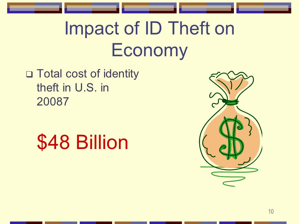 10 Impact of ID Theft on Economy  Total cost of identity theft in U.S. in 20087 $48 Billion