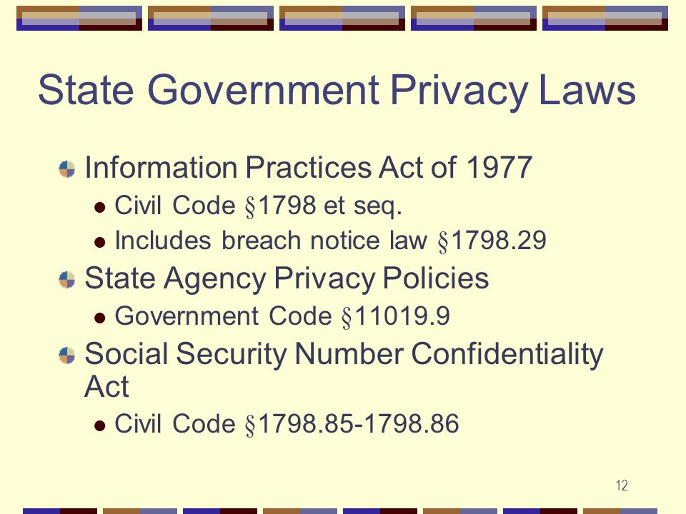 12 State Government Privacy Laws Information Practices Act of 1977 Civil Code §1798 et seq.