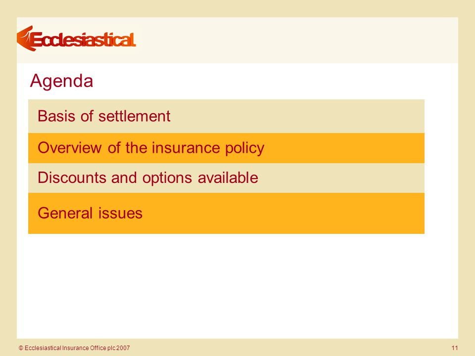 © Ecclesiastical Insurance Office plc 2007 11 Agenda Basis of settlement Overview of the insurance policy Discounts and options available General issues