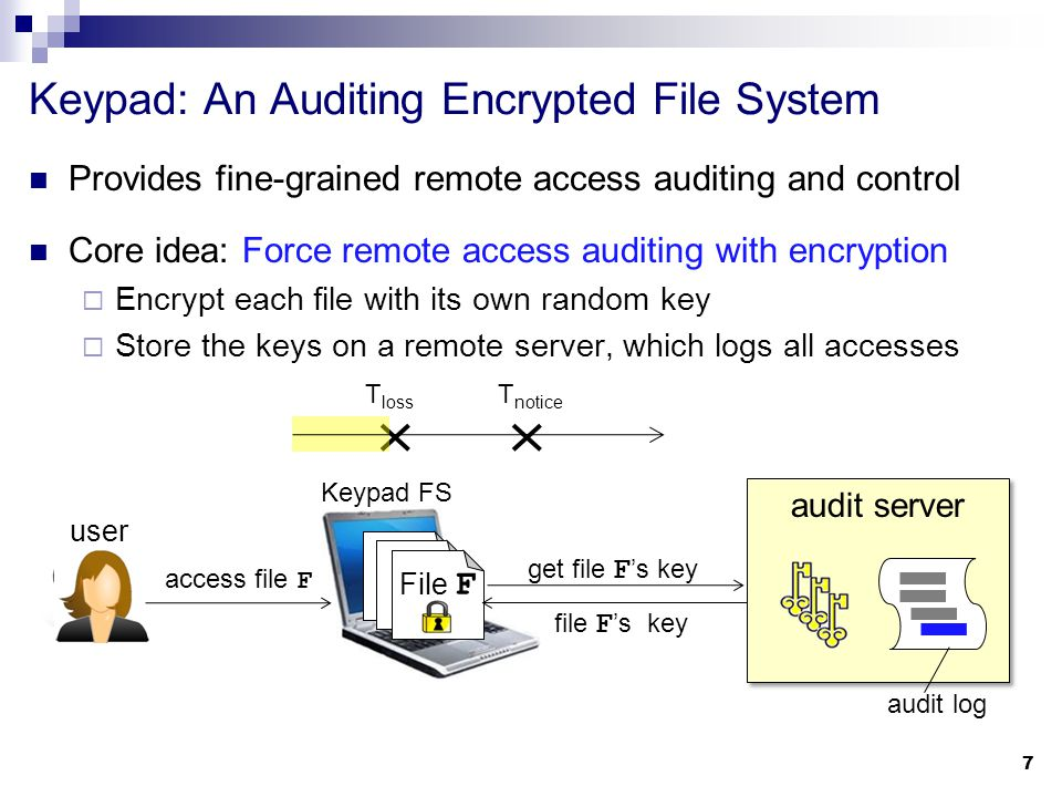 Provides fine-grained remote access auditing and control Core idea: Force remote access auditing with encryption  Encrypt each file with its own random key  Store the keys on a remote server, which logs all accesses Keypad: An Auditing Encrypted File System 8 T notice T loss File F get file F 's key file F 's key thief audit server audit log access file F Any compromise leaves a forensic trail on the server.