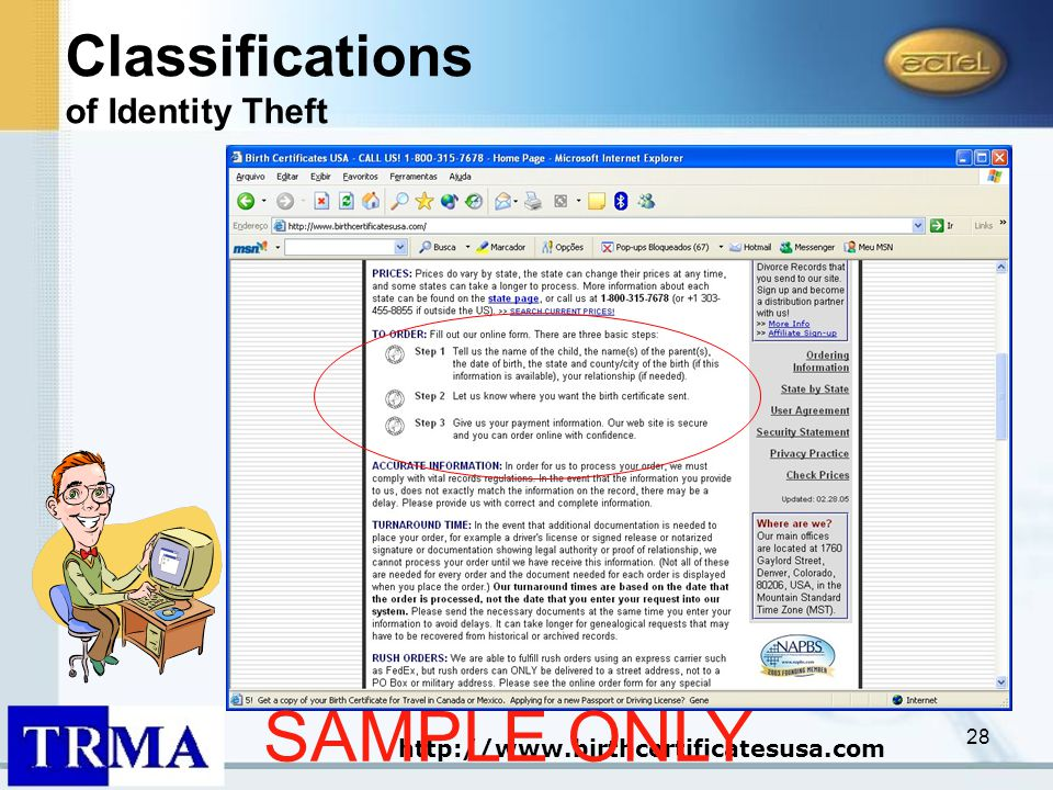 28 http://www.birthcertificatesusa.com Classifications of Identity Theft SAMPLE ONLY
