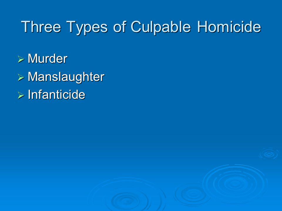 Three Types of Culpable Homicide  Murder  Manslaughter  Infanticide