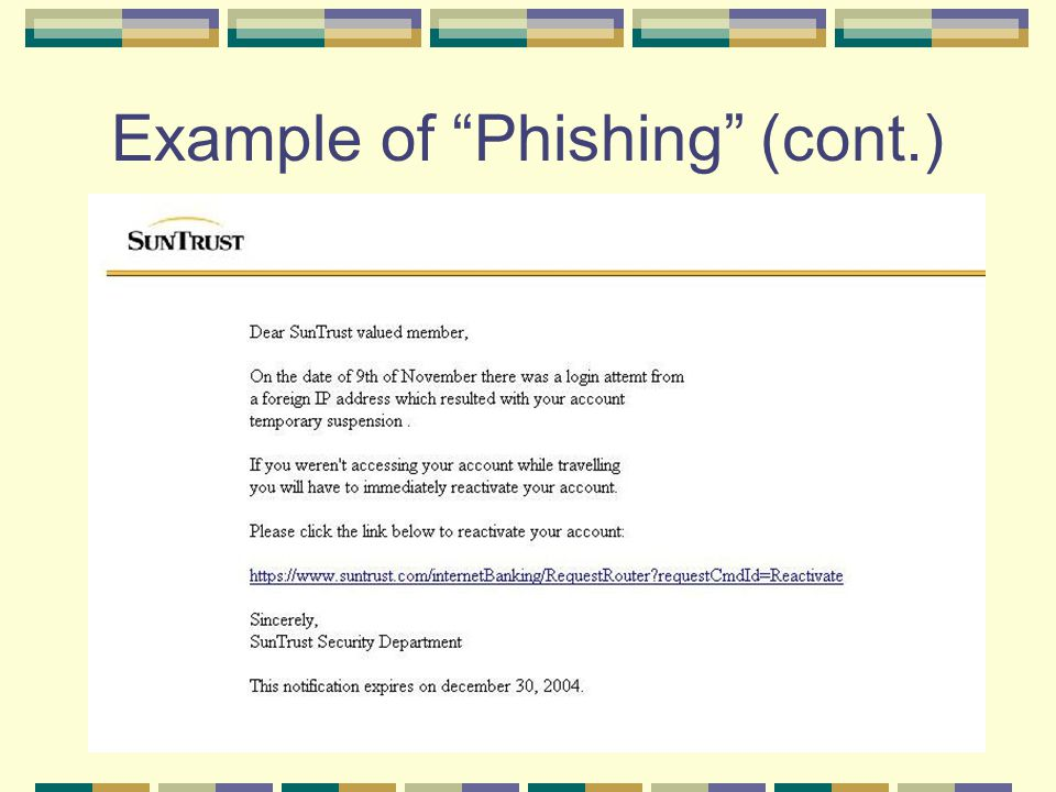 "Example of ""Phishing"" (cont.)"