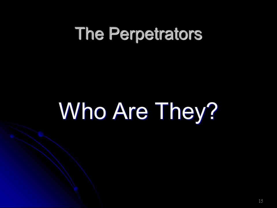 15 The Perpetrators Who Are They?