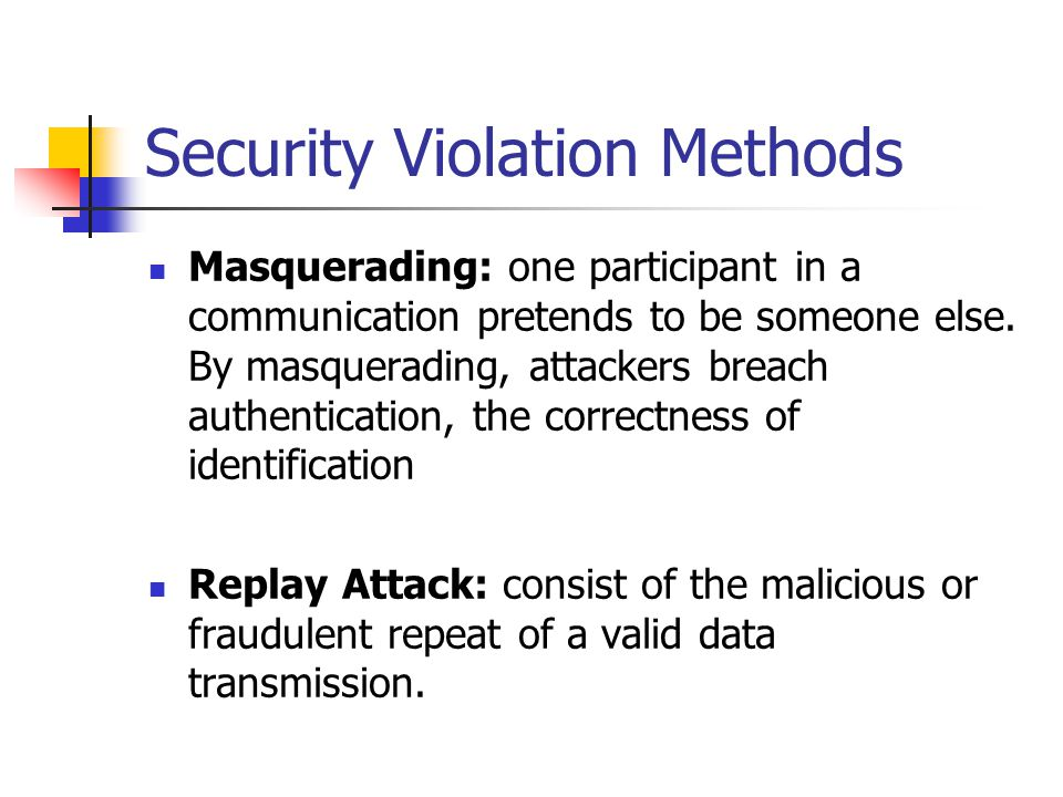 Security Violation Methods Message modification Man-in-the-middle attack Session hijacking