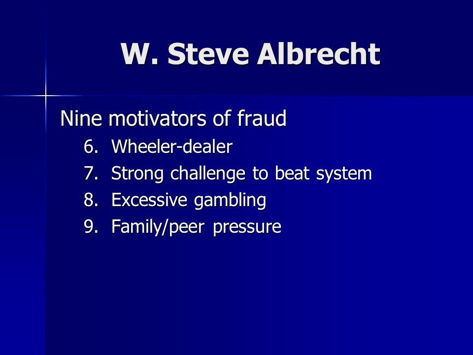 W. Steve Albrecht Nine motivators of fraud 6.Wheeler-dealer 7.Strong challenge to beat system 8.Excessive gambling 9.Family/peer pressure
