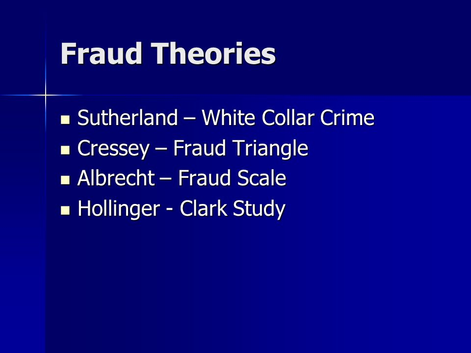 Fraud Theories Sutherland – White Collar Crime Sutherland – White Collar Crime Cressey – Fraud Triangle Cressey – Fraud Triangle Albrecht – Fraud Scale Albrecht – Fraud Scale Hollinger - Clark Study Hollinger - Clark Study