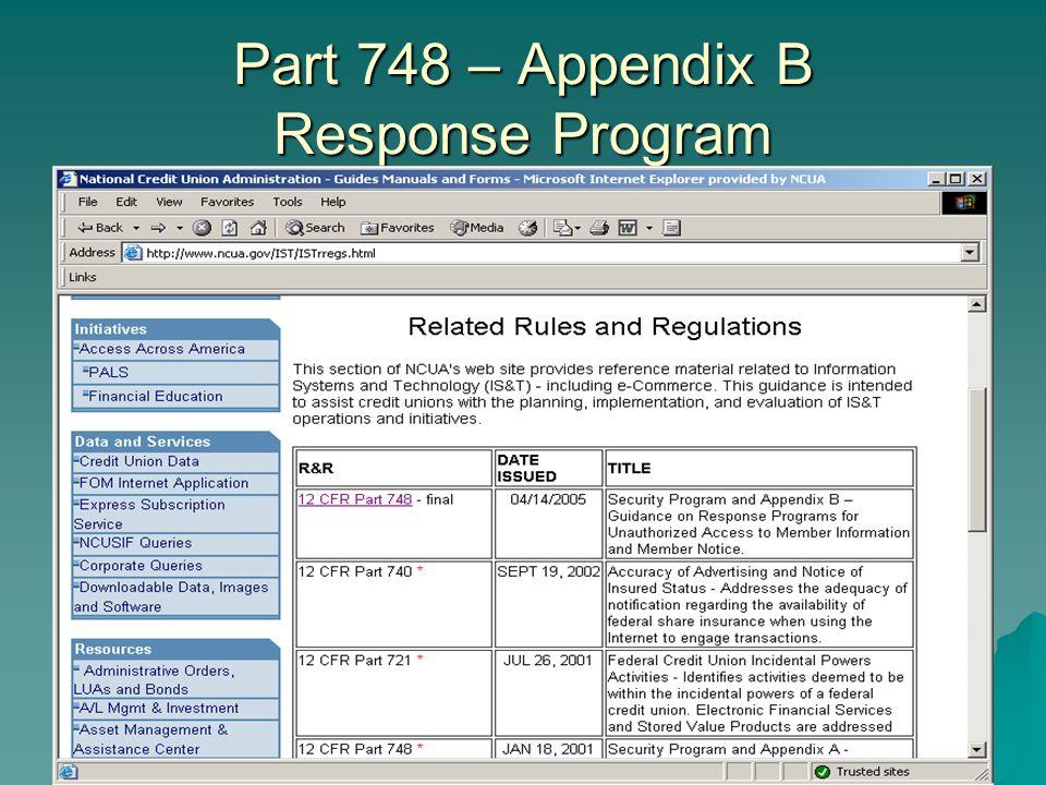Part 748 – Appendix B Response Program