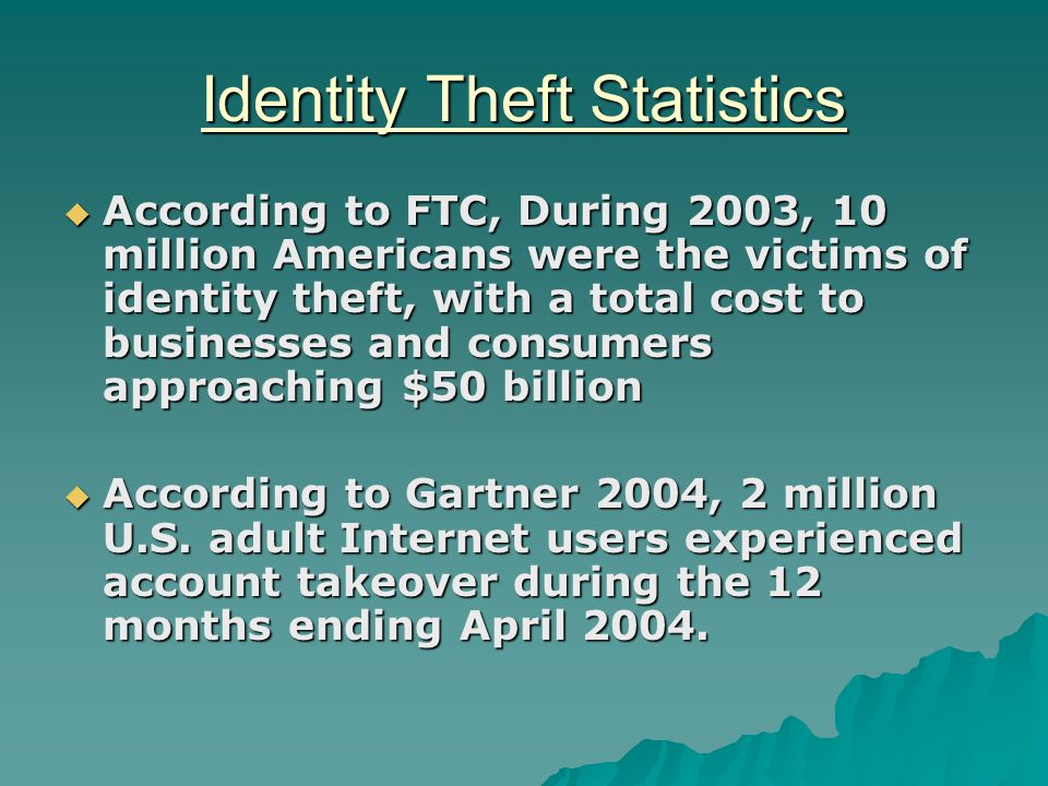 Identity Theft Statistics  According to FTC, During 2003, 10 million Americans were the victims of identity theft, with a total cost to businesses and consumers approaching $50 billion  According to Gartner 2004, 2 million U.S.