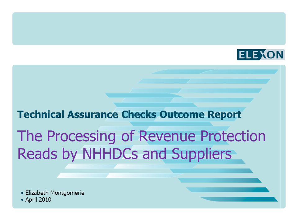Elizabeth Montgomerie April 2010 Technical Assurance Checks Outcome Report The Processing of Revenue Protection Reads by NHHDCs and Suppliers