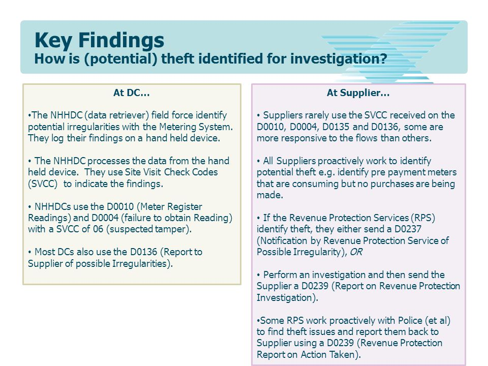 Key Findings How is (potential) theft identified for investigation? At DC… The NHHDC (data retriever) field force identify potential irregularities wi